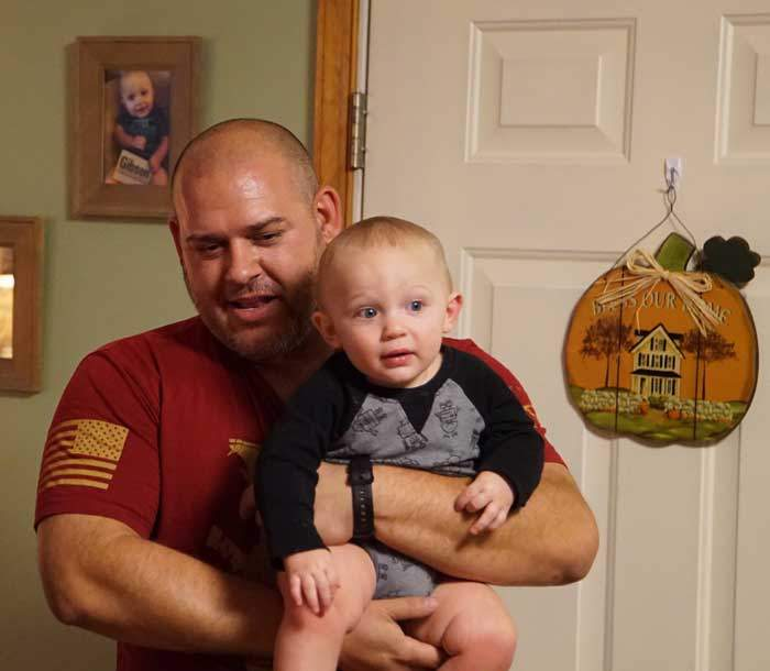 Ben with his son Gibson, named after a fellow soldier who died in Iraq