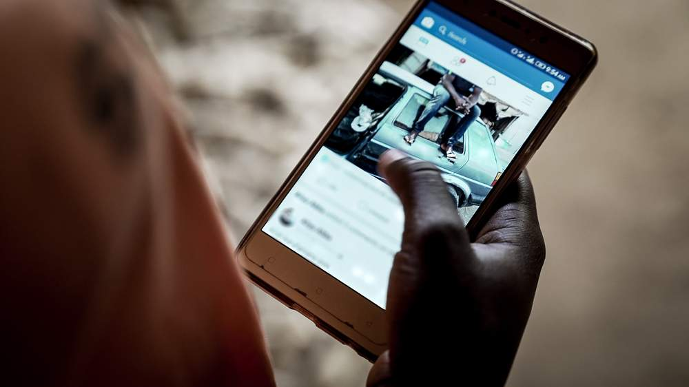 A Nigerian Facebook user browsing