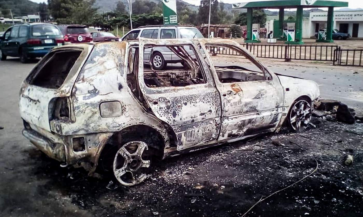 One of the vehicles destroyed on 24 June 2018 in Jos