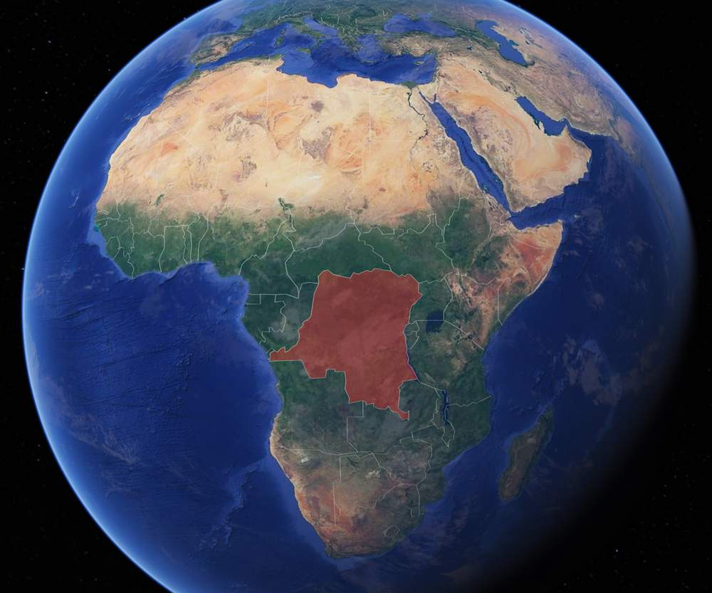 Africa, with DR Congo marked red
