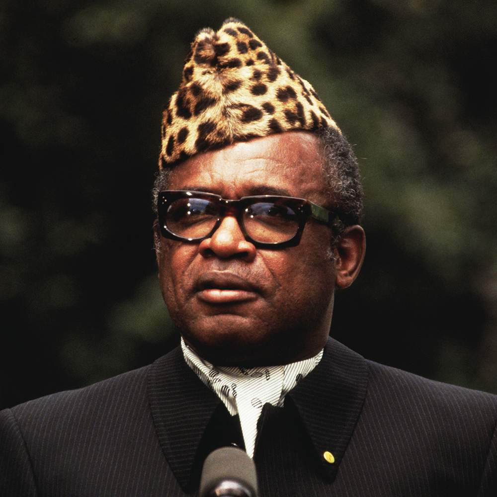"""Mobutu Sese Seko (1984) and, below, signs in Lubumbashi: """"Thank you citizen president. Mobutu Sese Seko our only hope."""" (1979)"""