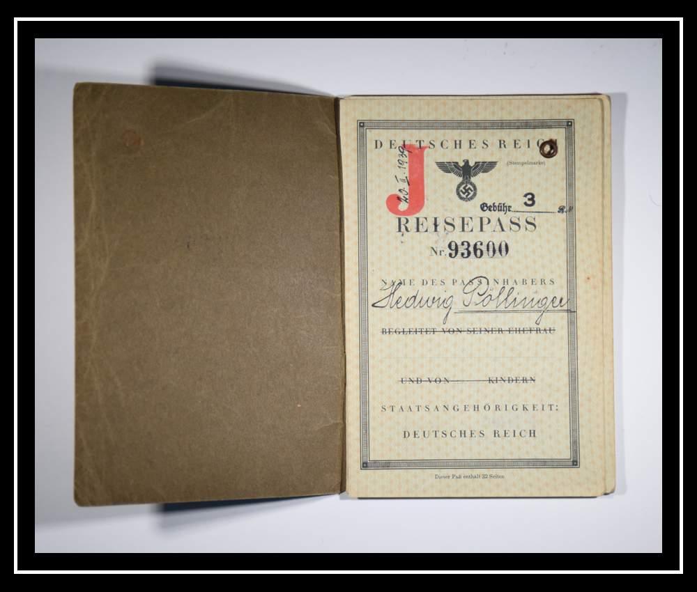 """Паспорт Хедвиг 1939 года: Отметка """"J"""" обозначает еврейское происхождение"""