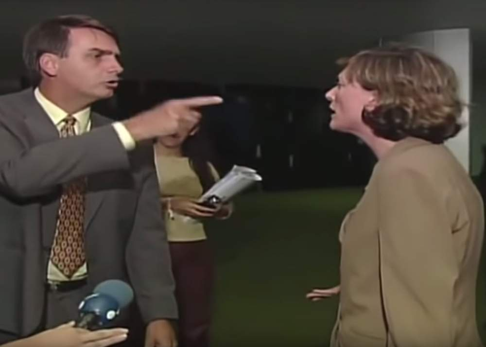 Bolsonaro and Maria do Rosário during an interview on RedeTV!, 2003