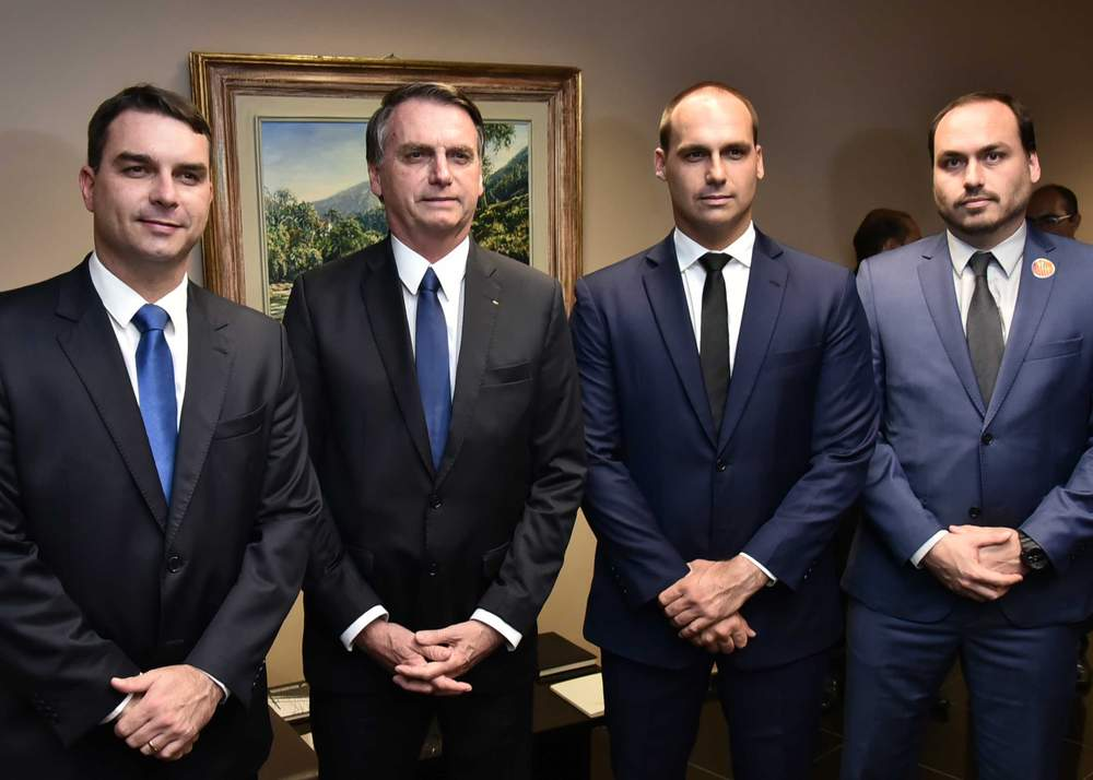 Bolsonaro with three of his sons (L-R): Flávio, Eduardo and Carlos