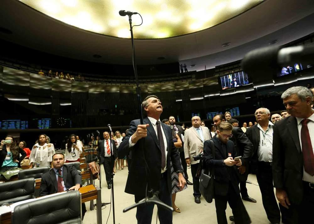 Bolsonaro during a debate in the Brazilian parliament, 2016