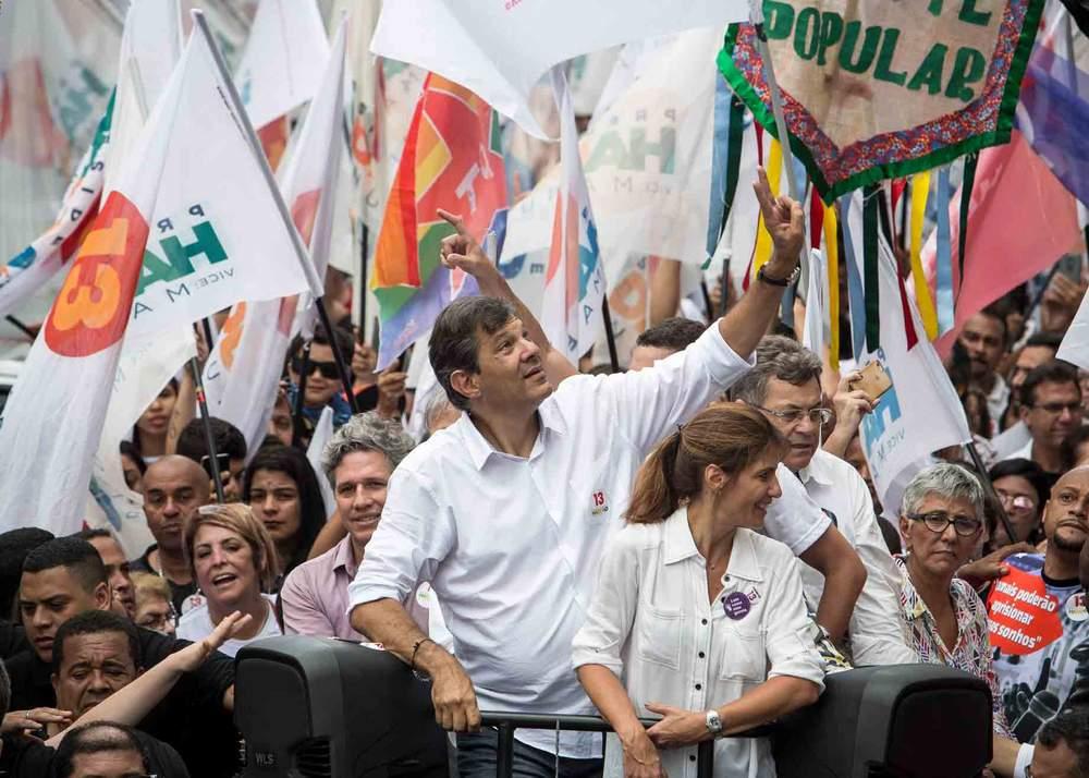Presidential candidate Fernando Haddad (C)