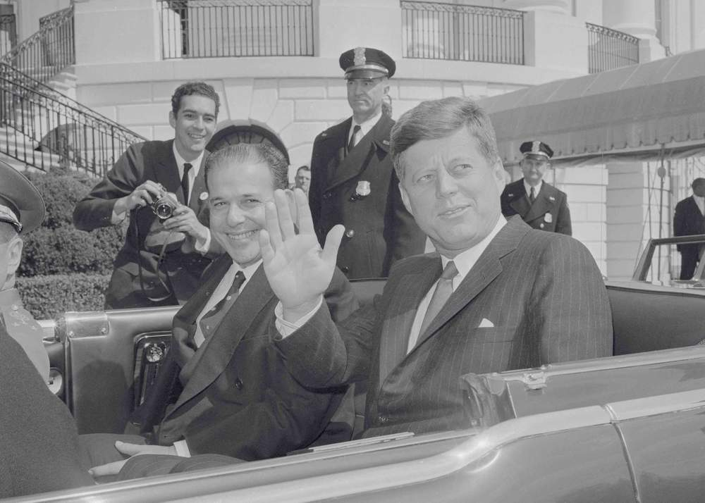 President Joao Goulart (L) and President Kennedy (R) leaving the White House, 1962