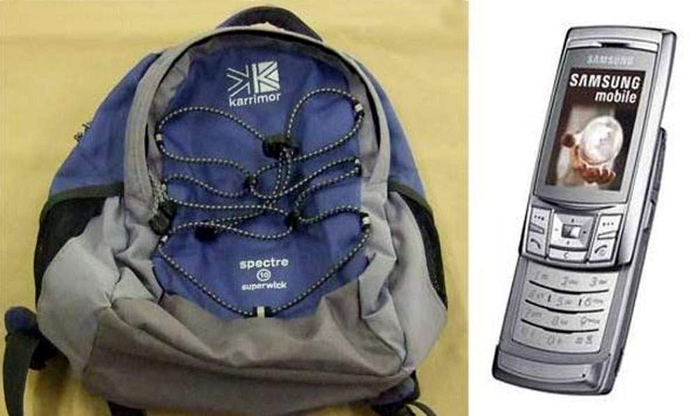 Images of a bag and phone similar to Claudia's missing items were released