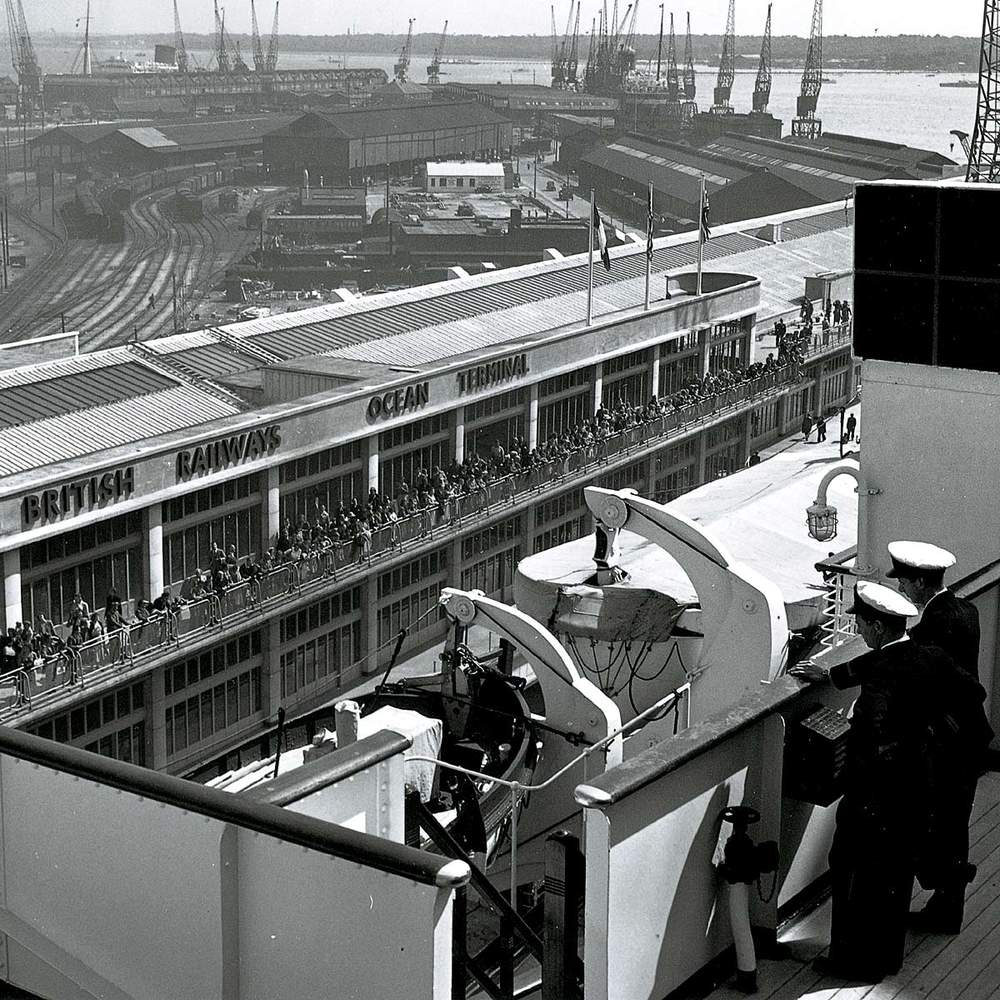 View of Southampton's Ocean Terminal from the Queen Mary, 1950