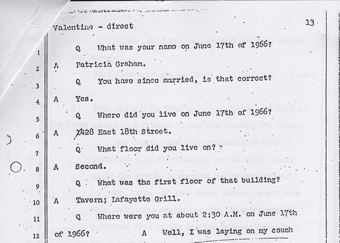 Extract from police interview with Patty Valentine