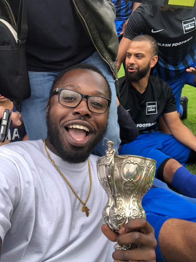 Lloyd posing with the Jack Walpole Cup Baiteze won in May 2018