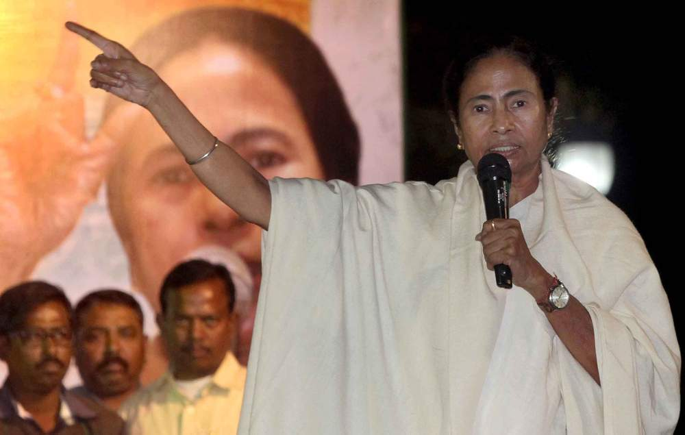January 2017: Congress politician Mamata Banerjee addresses a protest against demonetisation in Kolkata