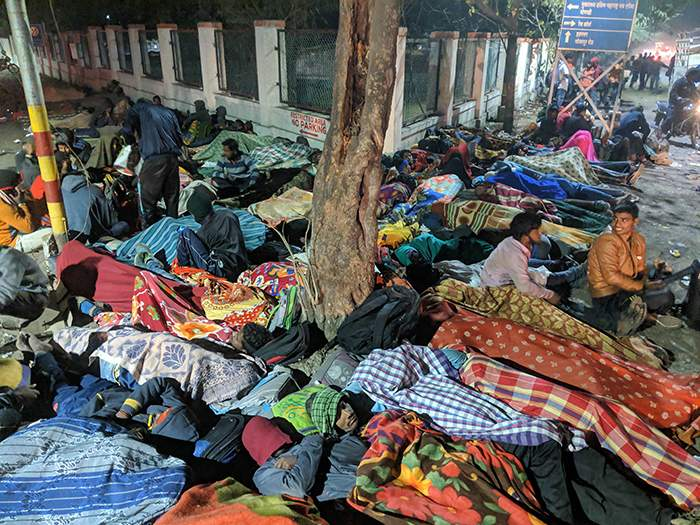 Pune, February 2019: Candidates sleep out ahead of army job tests