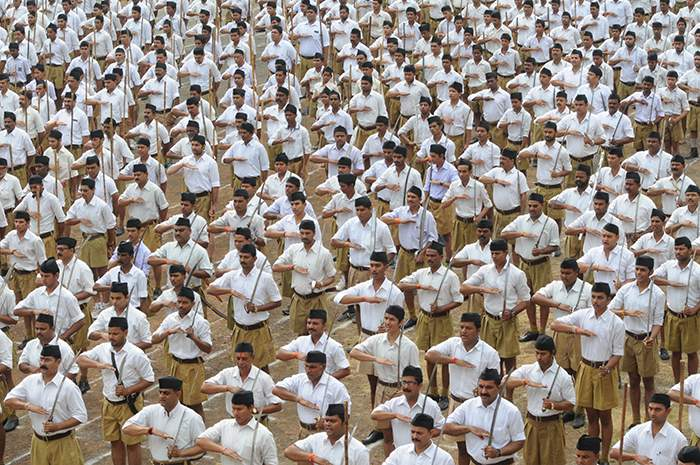RSS volunteers on parade in Bhopal, 2015