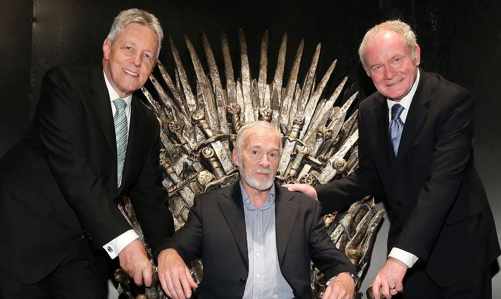 Peter Robinson, Ian McElhinney and Martin McGuinness