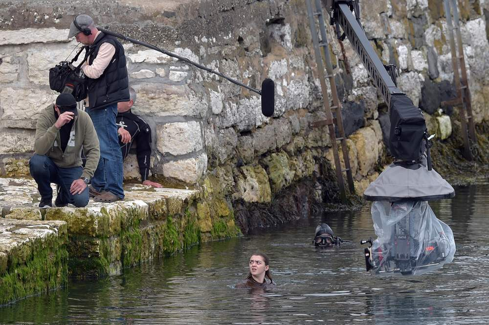 Filming in Carnlough, County Antrim, in August 2015
