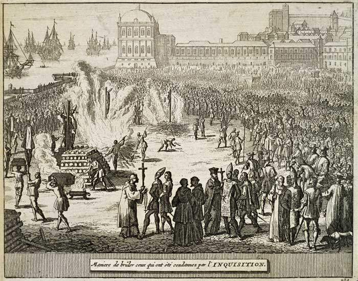 An engraving shows the burning of heretics by the Portuguese Inquisition