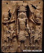 A brass plaque under the Benin Bronzes collection