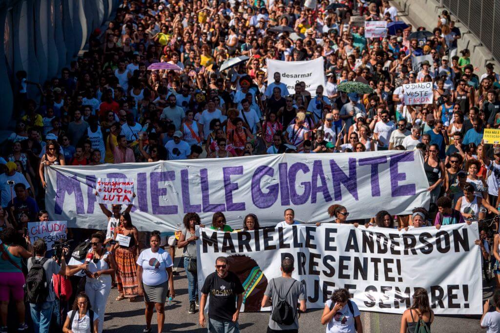 Manifestação na favela da Maré, em 18 de março de 2018