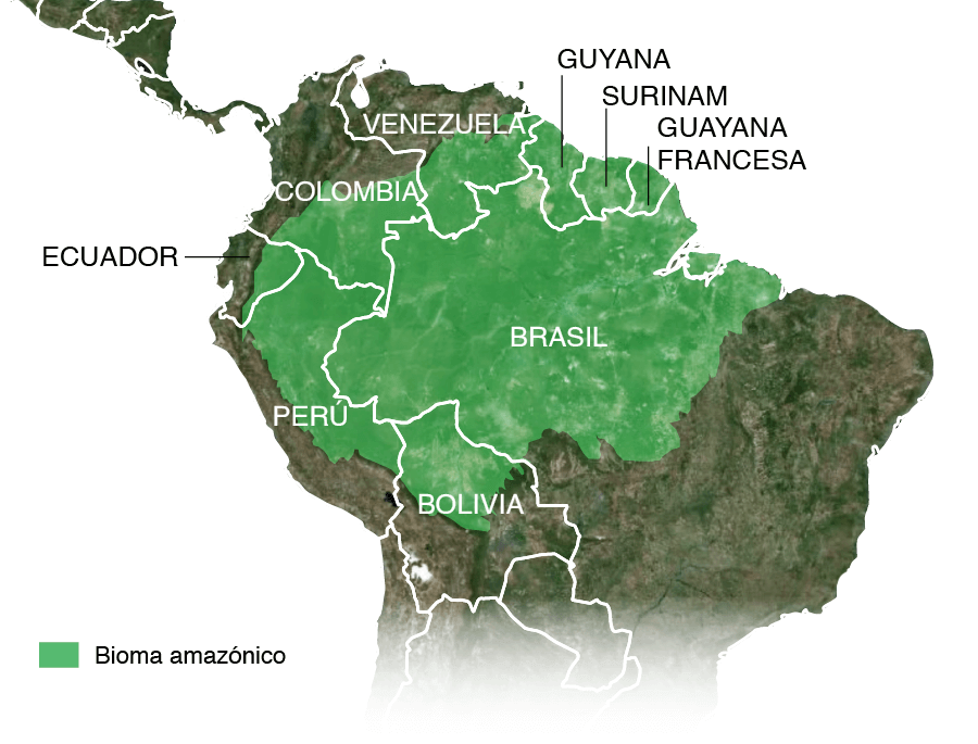Mapa de la localización del bioma amazónico