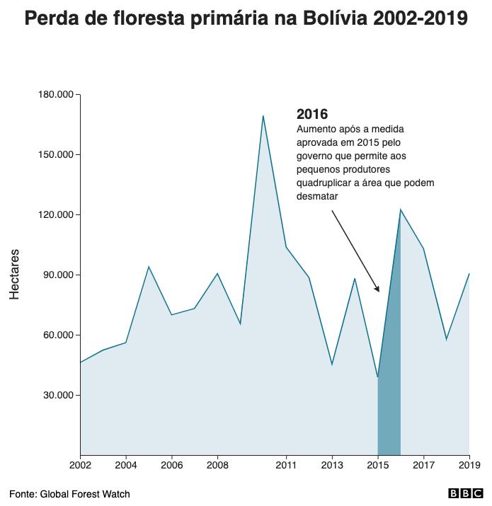 Perda de floresta primária na Bolívia 2002-2019