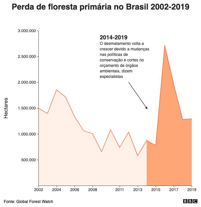 Perda de floresta primária no Brasil 2002-2019