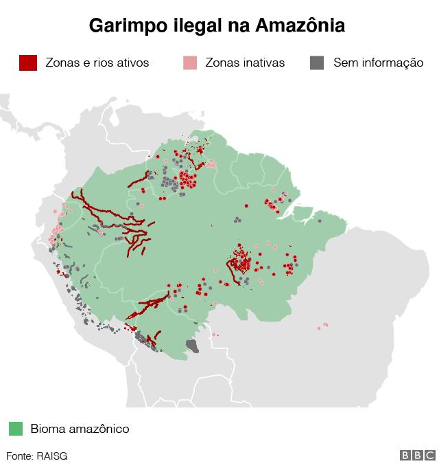 Gráfico da mineração ilegal na Amazônia
