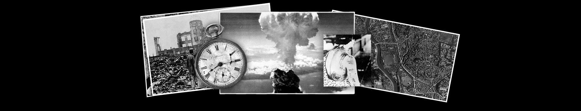 Montaje de fotos con reloj con la hora de la bomba, la explosión, mujer herida