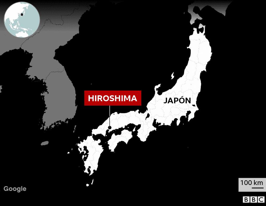 Mapa de localización de la ciudad de Hiroshima