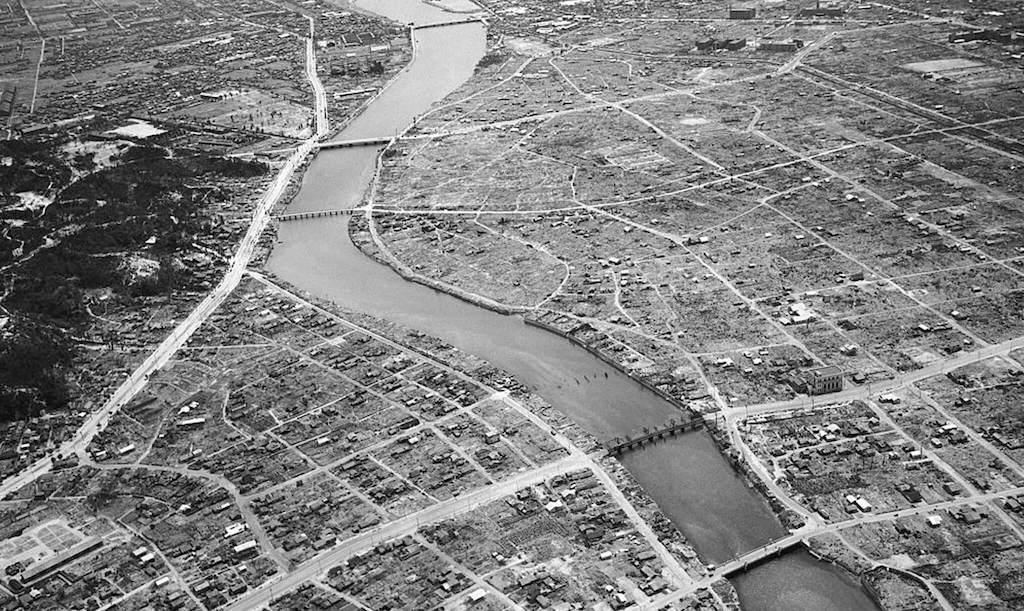 Visión aérea de Hiroshima destruida