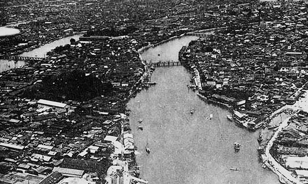 Vista aérea de la ciudad de Hiroshima antes de la explosión