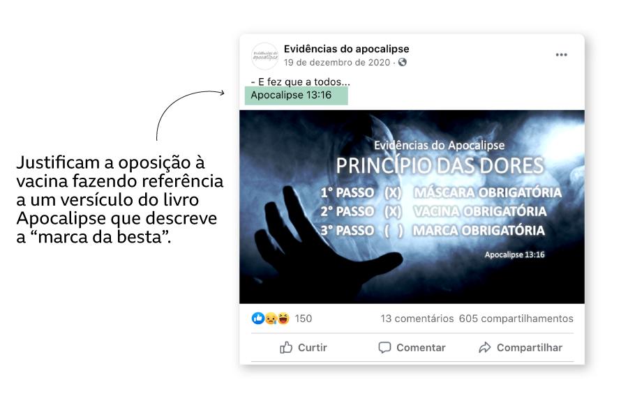 "Exemplo de post no Facebook afirmando que vacina de covid-19 é a ""marca da besta"" bíblica"