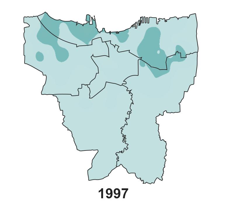 Jakarta's land subsidence on 1997.