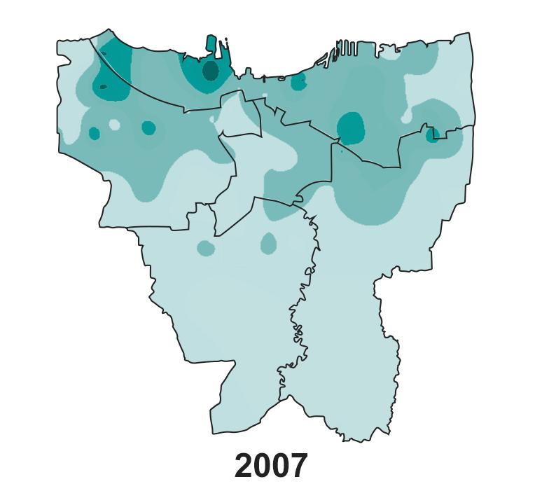 Jakarta's land subsidence on 2007.
