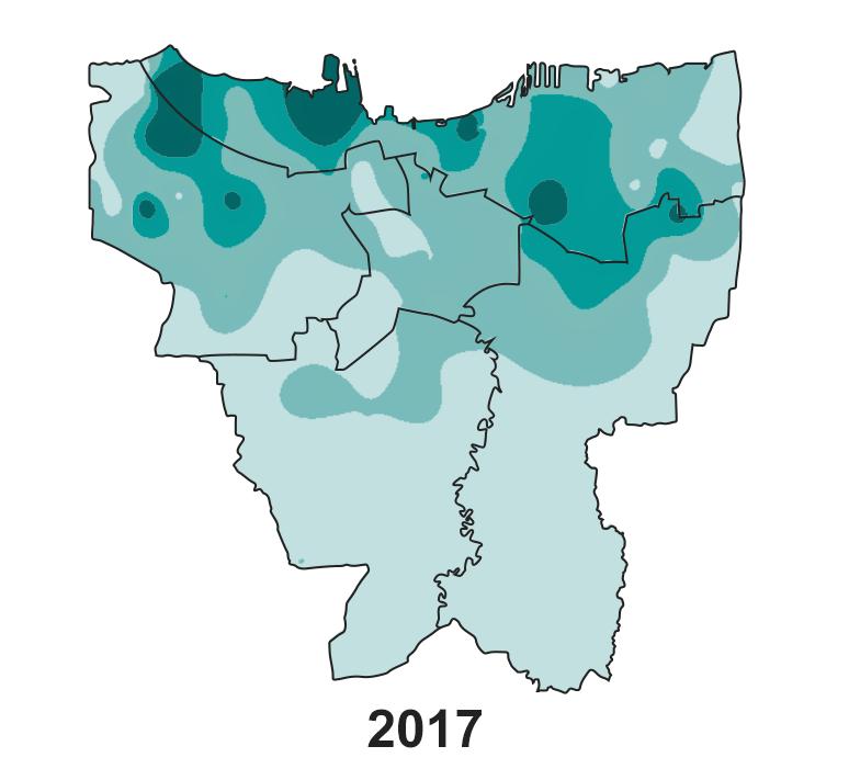 Jakarta's land subsidence on 2017.
