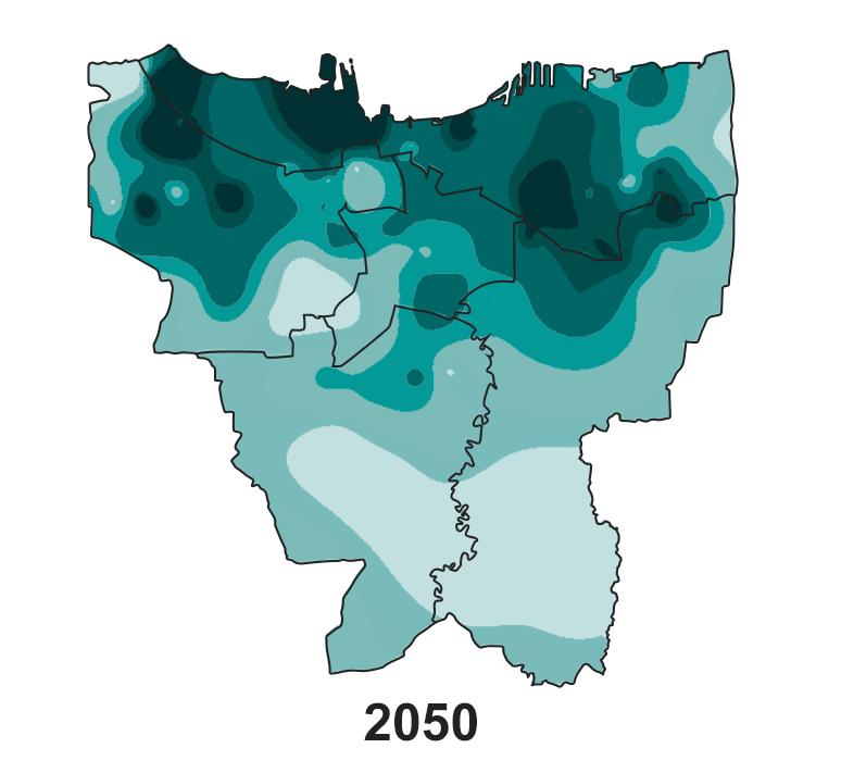 Jakarta's land subsidence on 2050.