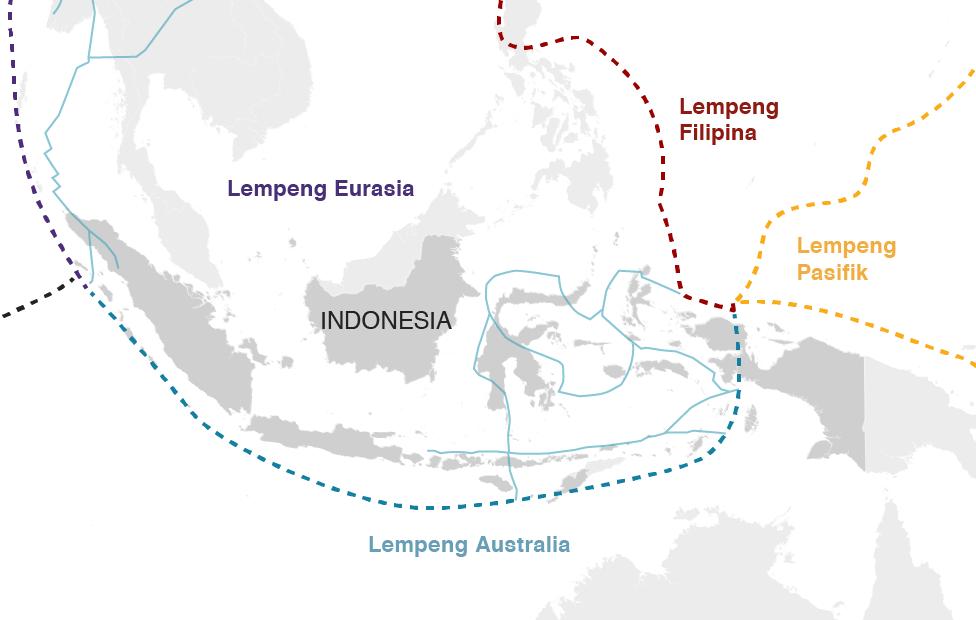 Peta menampilkan gempa berkekuatan lebih dari enam magnitudo di Indonesia dari tahun 1990 sampai 2018.