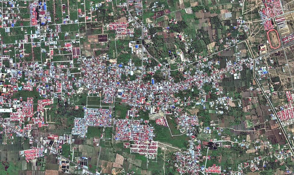 Satelite image showing liquefaction in Balaroa.