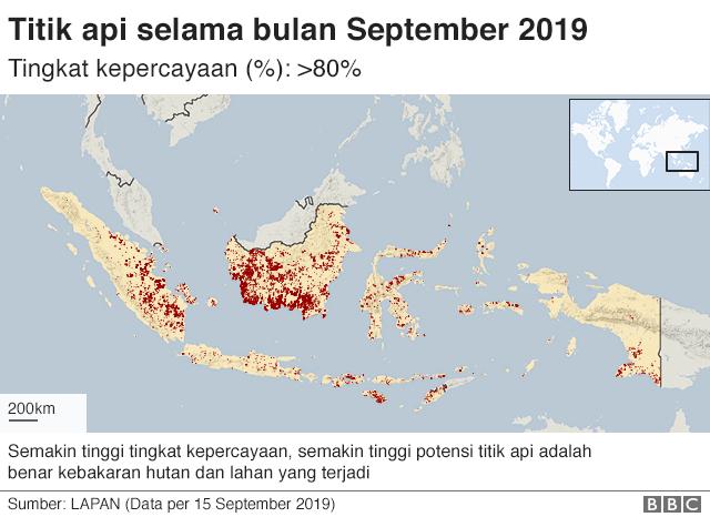 Figur menunjukkan titik api di Indonesia antara tanggal 1-15 September 2019 berdasarkan data dari LAPAN. Terlihat bahwa sebagian besar titik api terjadi di pulau Kalimantan.