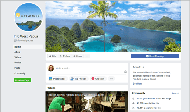 Cuplikan laman Facebook Info West Papua, salah satu laman yang dihapus oleh Facebook.