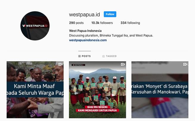 Cuplikan laman Instagram westpapua dot id.
