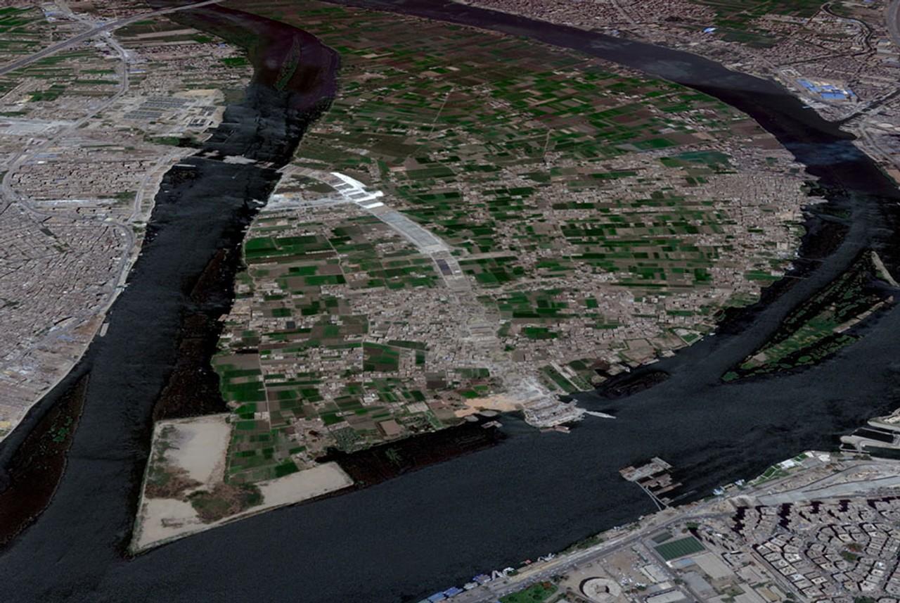 جزيرة الوراق كما هي الآن  (المصدر: Google Earth)