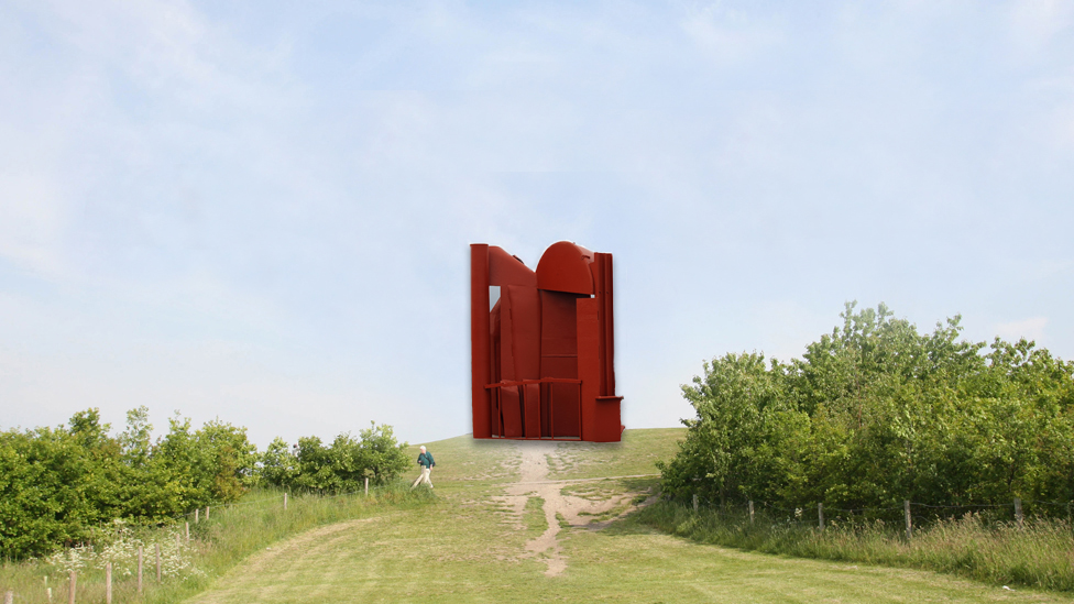 Composite image overlaying an Anthony Caro sculpture on the Angel of the North mound