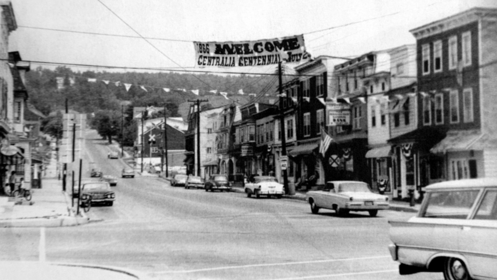 An image of a road Centralia taken in 1966