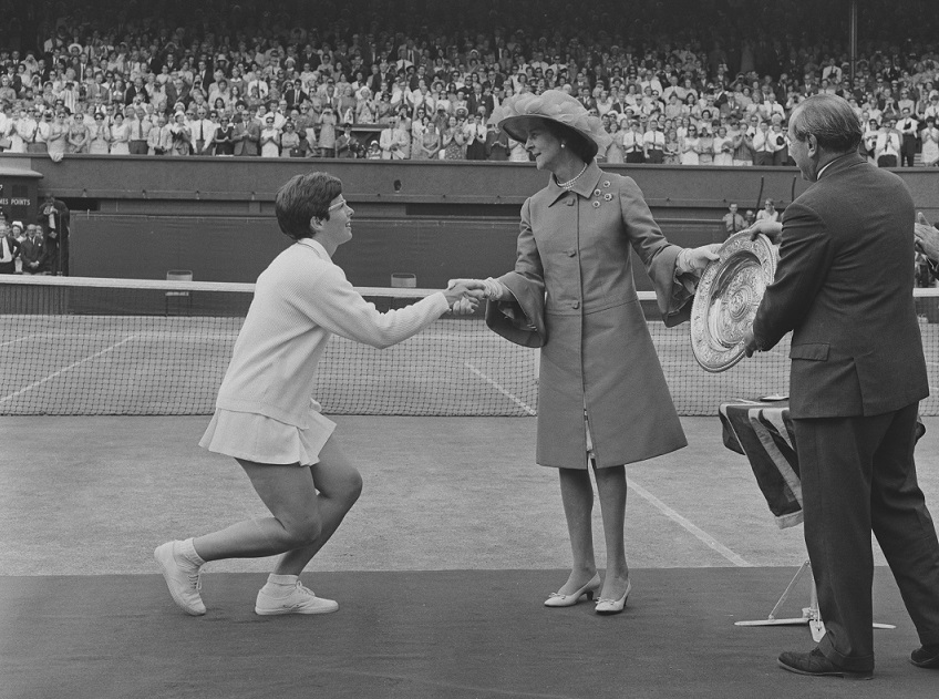 Billie Jean King is presented with the 1968 trophy