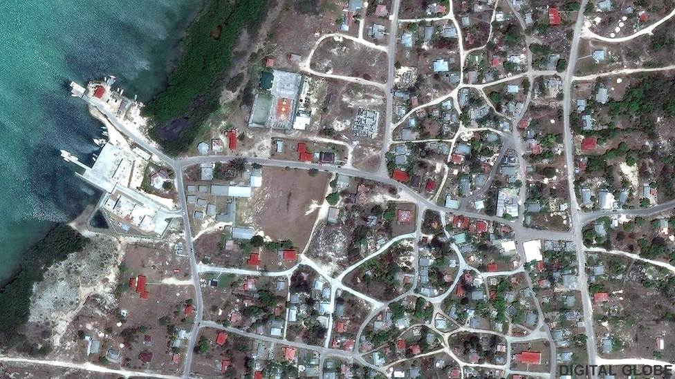 Satellite image of the town of Codrington in Barbuda
