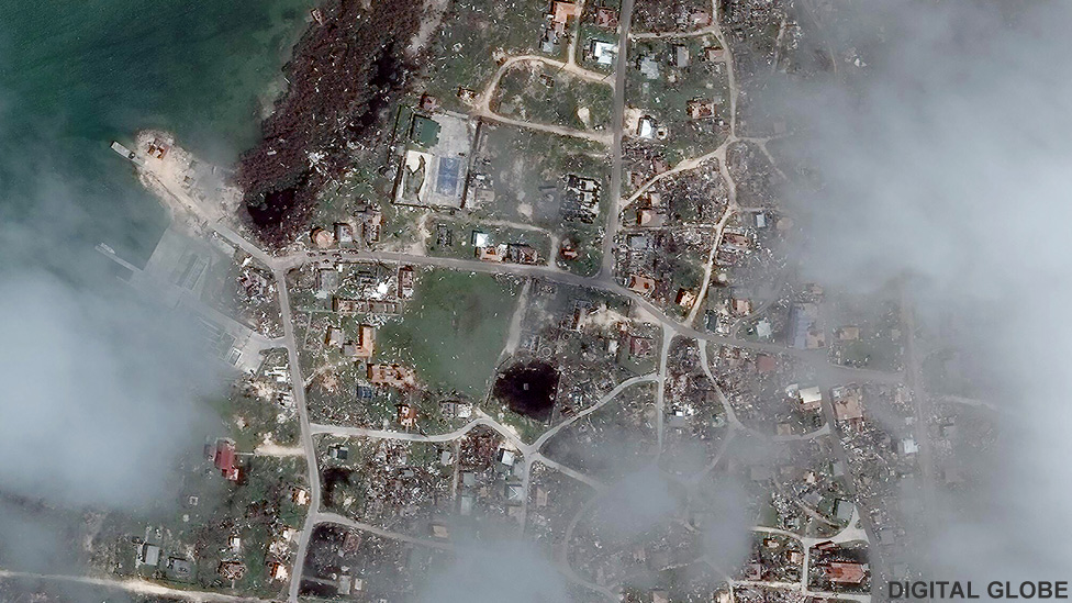 Satellite image of the town of Codrington, Barbuda after Hurricane Irma