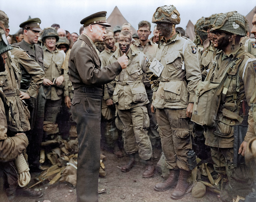 Colour photo of General Dwight D. Eisenhower addresses American paratroopers prior to D-Day