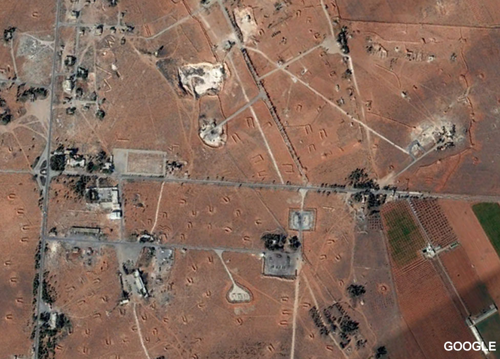 Satellite image of Shayrat air base before the attack