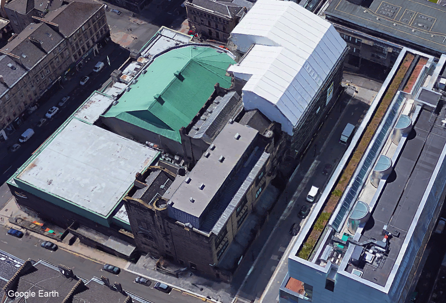Aerial view of Glasgow School of Art and surrounding buildings before the fire - Google Earth 2018